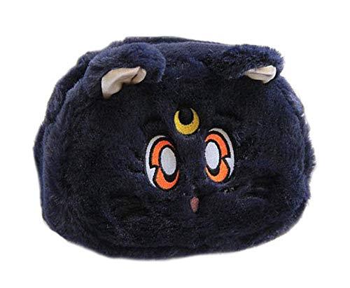 美少女戦士セーラームーンルナ猫収納バッグ かわいい綿毛 ふわふわ 小銭 財布 化粧ポーチ おもちゃ (化粧バッグ, Black)