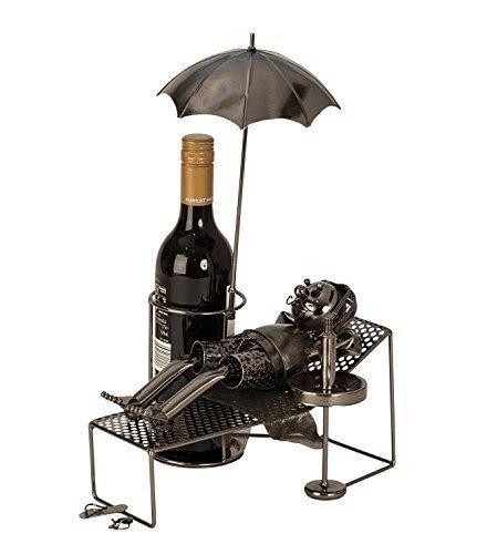 Moderner Wein Flaschenhalter Urlauber aus Metall in Silber Höhe 39 cm Länge 30 cm