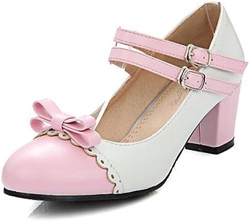 BGYHU GGX Damen Schuhe PU Sommer- , Round Toe Toe Toe Heels Büro & Karriere Casual Chunky Ferse Schleife Schnalle Schwarzblau gelb Rosa  Shop macht Kauf und Verkauf