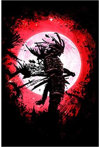 Lienzo De Impresión 60x80cm Sin Marco Imágenes de samurái fantasma japonés bajo la luna para decoración de sala de estar