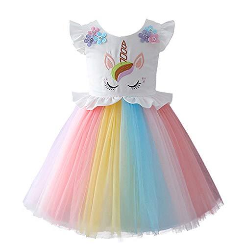 Costume da Principessa Unicorno per Bimba con Vestito Lungo Compleanno Ballerina Abiti Bambini Carnevale Halloween Cosplay Abito Arcobaleno Festa Cerimonia Nozze Sera Pageant Bianco 6-7 Anni