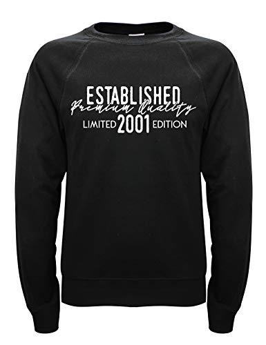 Soreso Geschenk zum 19. Geburtstag Established 2001 für Männer Herren Pullover Sweatshirt schwarz Gr: L