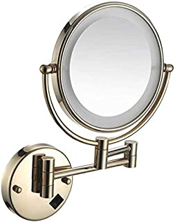 LED Makeup Vanity Mirror, Two-Sided Wall Mounted Beauty Mirror Magnification Bathroom Mirror 360° Swivel Extendable Cosmetic Mirror 8inch,Antique Copper_3X,Bathroom
