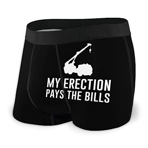 My Erection Pays The Bills Men Boxer Briefs Comfort Classic Underwear Cool Breathable Shorts Black