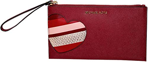 """Large leather clutch with top zip. Interior: 1 main compartment. 1 medium side pocket. multiply slip pockets.Exterior: beautiful design ,gold tone hardware. Michael Kors Logo. Wrist leather strap. New style 2018. Authentic.MEASUREMENTS : 9""""X4.5"""""""