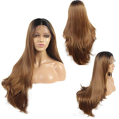 Ivan Cosmetic High Density Straight With Wave Tail Wig Synthetic Lace Front Kanekalon Fiber Heat Resistant Wigs With Baby Hair Pre Plucked Hair Bleached Knot For Women. (24