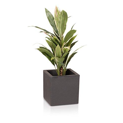 Pots de fleur DECORAS, bacs et jardinières en plastique, tailles différentes, couleur: anthracite mate, résistant au gel, garantie de 8 ans (résistance aux UV)