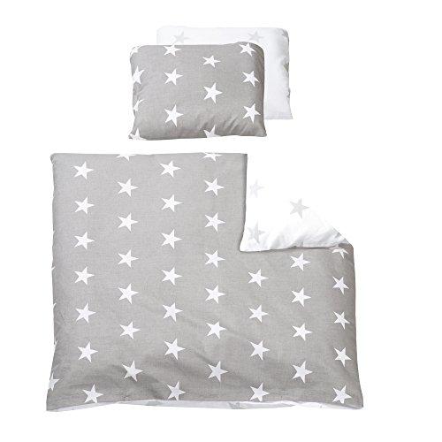 roba Wiegenbettwäsche 2-tlg, Wiegenset Kollektion 'Little Stars', Baby Bettwäsche 80x80(Decke & Kissen), 100% Baumwolle