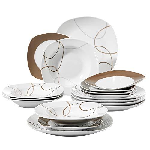 VEWEET Tafelservice 'Nikita' aus Porzellan 18 teilig | Tellerset für 6 Personen | Mit je 6 Dessertteller, Suppenteller und Speiseteller