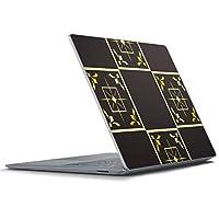 igsticker Surface Laptop3 / Laptop2 / Laptop 13.5インチ 専用スキンシール Microsoft サーフェス サーフィス ノートブック ノートパソコン カバー ケース フィルム ステッカー アクセサリー 保護 004191 チェック・ボーダー 模様 エレガント 黒
