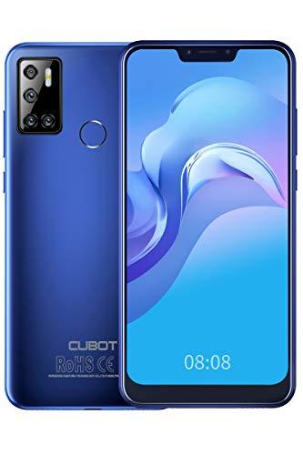 CUBOT C20 Smartphone ohne Vertrag, Android 10 Handy 4GB RAM/64GB ROM, 6.18 Zoll Bildschirm, 4200mAh Akku, 128GB erweiterbar, 3 Kameras, Dual SIM, Face-ID, Fingerabdruck, NFC, Blau