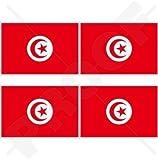 TUNESIEN Tunesische Flagge, Fahne TUNESIEN 50mm Auto & Motorrad Aufkleber, x4 Vinyl Stickers