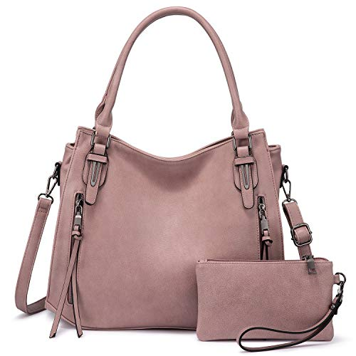 Realer Bolso de mano para mujer, grande, de piel, bolso bandolera, monedero, Hobo, 2 unidades, color rosa