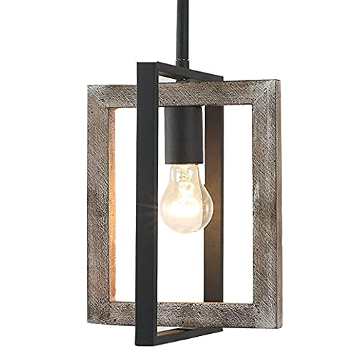 Farmhouse Pendant Light Antique Wood and Metal Chandelier Handmade Distressed 1 Light Pendant Fixtures Hanging for Kitchen Island Dining Foyer Entryway Lighting for Home Decor-D8'x H11'