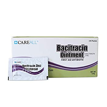 144 Pack  CareALL Bacitracin Antibiotic Zinc Ointment 0.9gr Foil Packet First Aid Ointment to Prevent and heal infections for Minor cuts scrapes and Burns.
