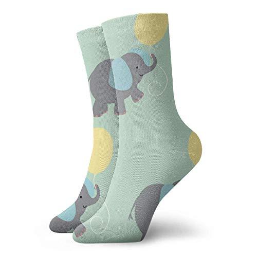 Tammy Jear Calcetines clásicos de compresión, calcetines deportivos largos de elefante y globos deportivos, 11.8 pulgadas (30 cm) para hombres, mujeres
