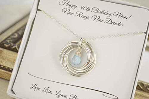 9 Rings for 9 Decades Birthstone Necklace