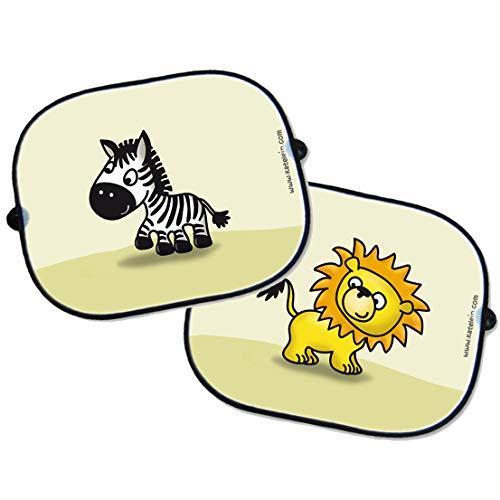 SET Parasol para ventanillas de coche - león e cebra - car sun shade