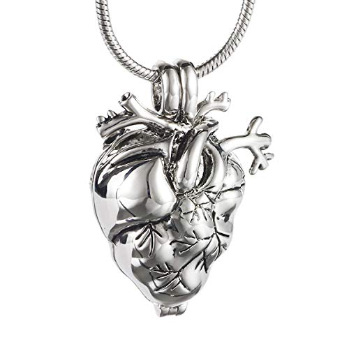 Cring Coco Anatomical Heart Necklace Cremation Organ Pendant Urn for Memorial