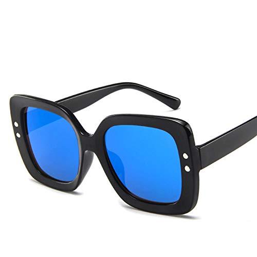 Powzz ornament Gafas de sol de gran tamaño para mujer, gafas de sol cuadradas de lujo para hombre, montura grande, gafas graduadas para mujer, gafas vintage, azul y negro