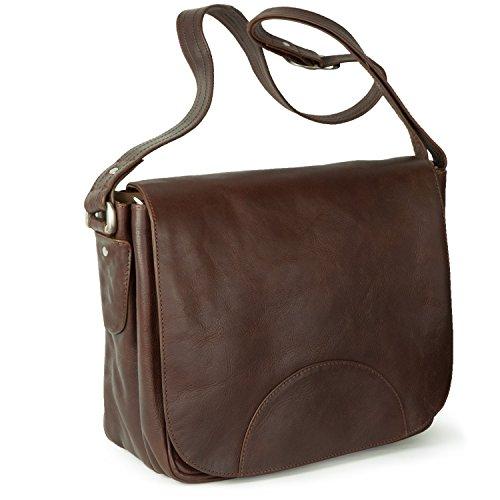 Damen Handtasche Größe M Umhängetasche im Retro-Look aus geöltem Leder, Kastanien-Braun, Hamosons 577