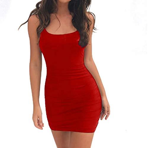 SANNYSIS Kleid Damen Sommer Kurz Stretch Vest Dress Spaghetti Strap Tank Top Bodycon V-Ausschnitt Schulterfrei Kleider Elegant Strandkleider Minikleid Partykleider (L, Rot)