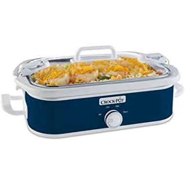 Cook And Carry Locking Lid System Casserole Crock 3.5-Quart Slow Cooker, Navy Blue