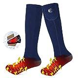 CRRXIN Heated Socks for Men Women, Heating Electric Socks, Rechargeable Battery 7.4V, Foot Warmer Ski Socks for Winter Outdoor Sports. (Dark Blue, L)