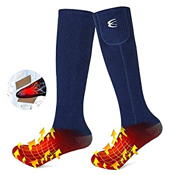 CRRXIN Heated Socks for Men Women Heating Electric Socks Rechargeable Battery 7.4V Foot Warmer Ski Socks for Winter Outdoor Sports  Dark Blue L