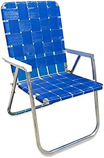 Lawn Chair USA Aluminum Webbed Chair (Deluxe, Blue Wave with White Arms)