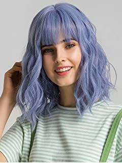 "Short Wavy Wig 12"" Pastel Blue Bob Wig with Bangs Shoulder Length Wig Short Curly Wavy Synthetic Wig for Women Lovely Synt..."
