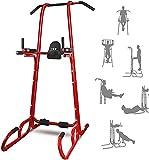 ISE Chaise Romaine 6 en 1 Power Tower Multifonction Fitness Dips Station Barre de Traction pour Musculation à Domicile, abdominaux, accoudoirs, 150KG, SY-2084