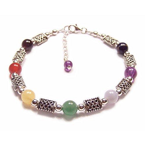 LunarraStar Pulsera de plata de ley 925 redonda de amatista, lapislázuli y granate con 7 piedras preciosas celtas y chakras, ajustable