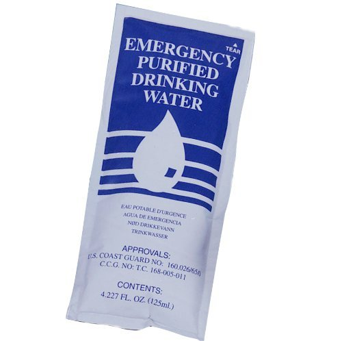 Emergency Water Pouches Case of 96 for Survival Kits, Disaster Supplies, 5 Year Shelf Life - SOS Brand