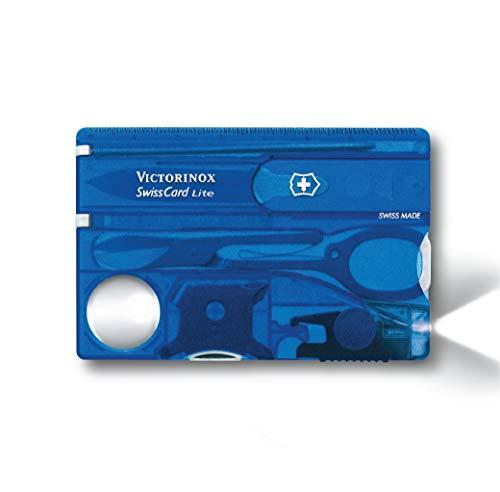 Victorinox Taschenmesser Swiss Card Lite (13 Funktionen, LED-Licht, Lupe) blau transparent