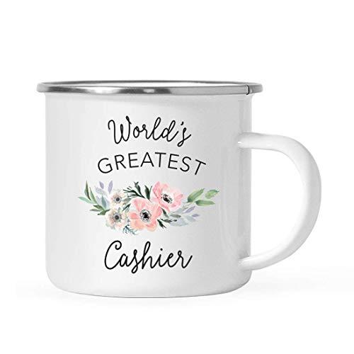 10 onzas. Taza de café de acero inoxidable para fogata, regalo, la taza de cajero más grande del mundo, flor de anémona rosa, paquete de 1, taza de bebida de esmalte personalizada para acampar, cumple