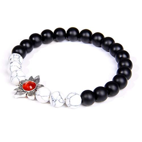 Aniversario Lotus Charm Bracelet Pulsera de cuentas de piedra natural Joyería budista para mujeres Niñas Pulsera de yoga Regalo de cumpleaños de Navidad del día de San Valentín del día de la madre