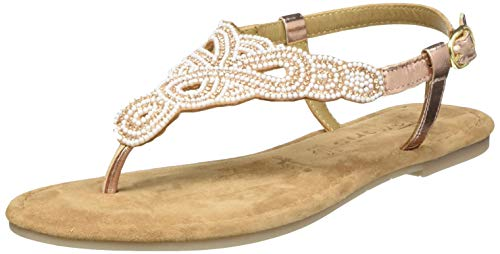 Tamaris 1-1-28153-24, Sandalias de Punta Descubierta Mujer, Gold Copper Glam Co 967, 38 EU