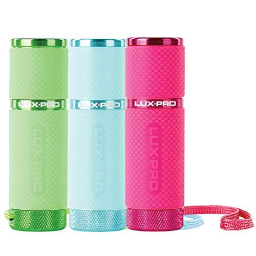 LUX-PRO LP395 Gels Glow in Dark 9 LED Flashlight (Pink, Green, Teal)