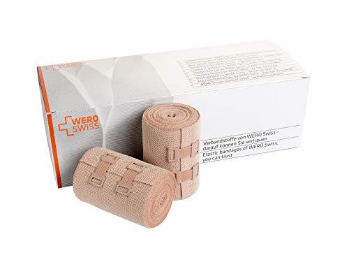 Wero Swiss® Lan, Textilelastische Kompressionsbinde mit kurzem Zug, 8cm x 5m, hautfarbig, atmungsaktiv, hautfreundlich & waschbar (10er Pack)