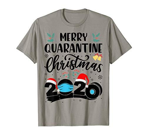 Merry Quarantine Christmas 2020 Funny Xmas Santa Face Mask T-Shirt