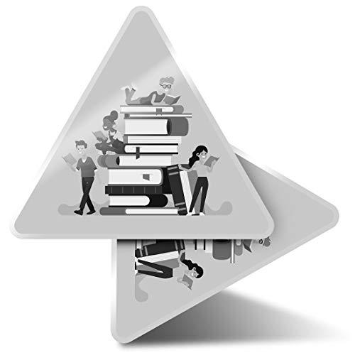 2 pegatinas triangulares de 7,5 cm – BW – Biblioteca Estudiante Fun Calcomanías para Portátiles, Tabletas, Equipaje, Reserva de Chatarra, Frigoríficos #42273