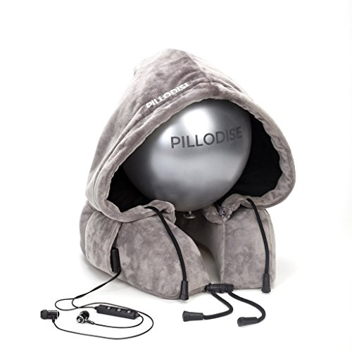PILLODISE Reise Nackenkissen mit Kapuze + Bluetooth + Headset/viscoelastischer Memoryschaum/GRATIS Nylonbag für den Transport/ideal für Reisen im Auto, Flugzeug, Bus, Bahn