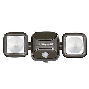 Mr. Beams MB3000 High Performance Wireless Battery Powered Motion Sensing LED Dual Head Security Spotlight, 500 Lumens, Brown, 1-Pack