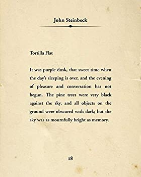 John Steinbeck Tortilla Flat Quote - Wall Decor Art Print - 8x10 unframed typography book page print - great gift for book and literary fans