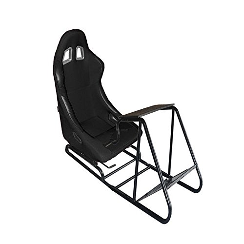 MODAUTO Estructura para Videojuego, Estructura Simulador de Conducción con Asiento Deportivo de Tela, Modelo N810A-N040, Negro