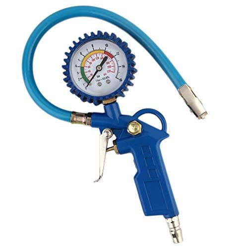 Krispich Luftdruckprüfer Reifenfüller mit Manometer Reifendruckprüfer Reifenfüll-Messgerät Reifendruckmesser Druckluft Reifenfüller 0~12bar, Schlauchlänge 400 mm