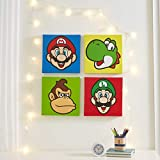 "Nintendo Super Mario 4 Pack Square Canvas Wall Art Set, 11""x11"" each"