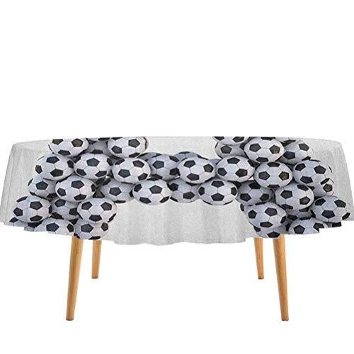 prunushome Letter A Table Cloth Realistic Soccer Balls in Form of Capital A Sports Play League Competition Theme for Kitchen Dinning Tabletop Decoration Black White (36' Round)