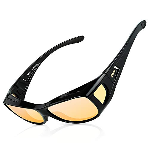 Duco Night Vision Glasses for Driving at Dusk Rainy Day Anti Glare Fit Over Wrap Around Eyewear Glasses UV400 Polarized